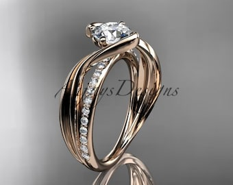 14kt rose gold diamond leaf and vine wedding ring, engagement ring ADLR78