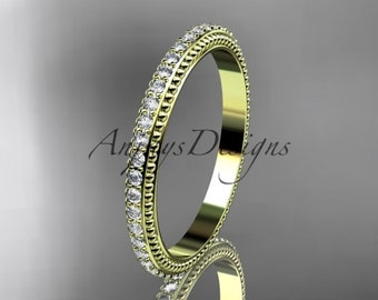 14kt yellow gold diamond wedding ring, engagement ring, wedding band ADER86B