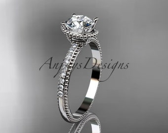 14kt white gold diamond unique engagement ring, wedding ring ADER86