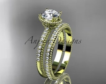 14kt yellow gold diamond unique engagement set, wedding ring ADER86S