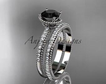 14kt white gold diamond unique engagement set, wedding ring with Black Diamond center stone ADER86S