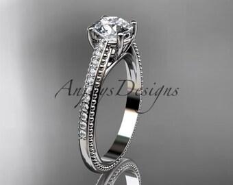 14kt  white gold diamond unique engagement ring,wedding ring ADER87