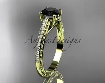 14kt yellow gold diamond unique engagement ring, wedding ring with Black Diamond center stone ADER87
