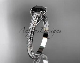 14kt white gold diamond unique engagement ring, wedding ring with Black Diamond center stone ADER87
