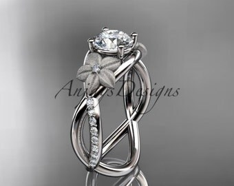 """14kt white gold diamond leaf and vine wedding ring, engagement ring with a """"Forever One"""" Moissanite center stone ADLR90"""