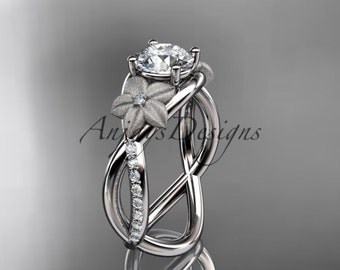 platinum diamond leaf and vine wedding ring, engagement ring ADLR90