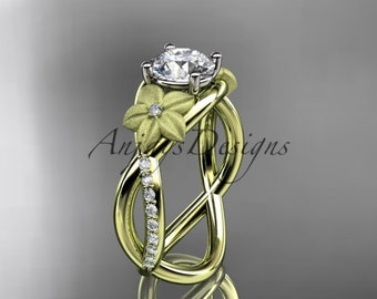 14kt yellow gold diamond leaf and vine wedding ring, engagement ring ADLR90