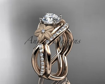 14kt rose gold diamond leaf and vine wedding ring, engagement ring ADLR90S