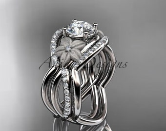 14kt white gold diamond leaf and vine wedding ring, engagement ring with double matching band ADLR90S