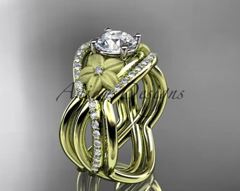 14kt yellow gold diamond leaf and vine wedding ring, engagement ring with double matching band ADLR90S
