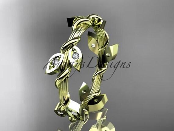 14kt  yellow gold diamond leaf wedding ring,engagement ring,wedding band