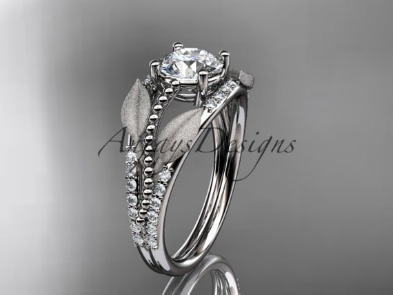 platinum diamond leaf and vine wedding ring, engagement ring ADLR75
