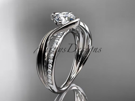 platinum diamond leaf and vine wedding ring,engagement ring ADLR78