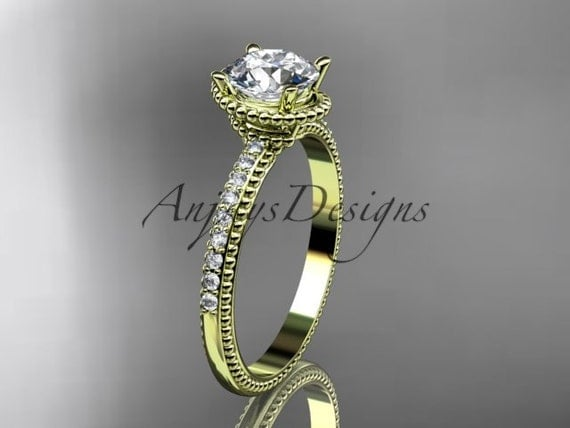 14kt yellow gold diamond unique engagement ring, wedding ring ADER86