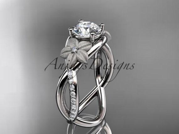 platinum diamond leaf and vine wedding ring, engagement ring ADLR90