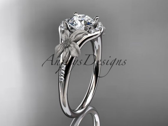 14kt white gold diamond leaf and vine wedding ring, engagement ring ADLR91