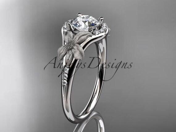 platinum diamond leaf and vine wedding ring, engagement ring ADLR91