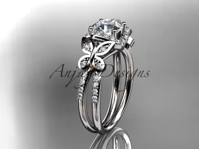 14kt white gold diamond butterfly wedding ringengagement ring adlr141 - Butterfly Wedding Ring
