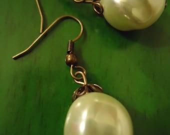 Boho Vintage Inspired Large Pearl Drop Earrings