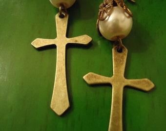 Boho Inspired One of A Kind Cross my Loving Heart Inspired Earrings