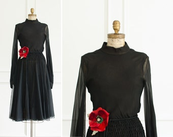 Vintage Designer Donald Brooks Black Sheer Open Back Dress w/ Fringes