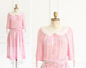 Vintage Designer Christian Dior Pink Clover Floral Dress Paris - 1970's