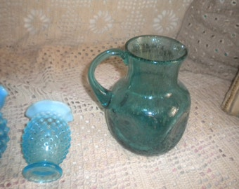 Vintage Hand Blown Blue Glass Pitcher, Eclectic Entertaining, Collectible Glass