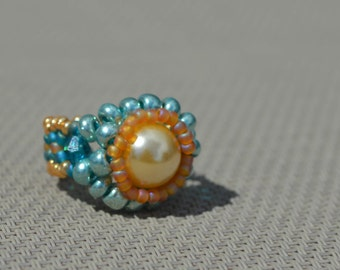 Faux Pearl Beaded Ring Blue, Gold, Aqua, Honey Size 5 Fashion Accessory Women Gifts