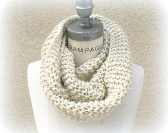 hand knit ivory Infinity Scarf, Most popular shops item, lightweight Soft Knitted scarf - By PiYOYO