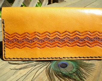 handmade - checkbook cover - tooled leather - Aztec style design