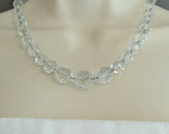 Vintage Crystal Necklace Round Crystal Beads Crystal Wedding Necklace Crystal Bridal Necklace Sterling and Crystal Necklace