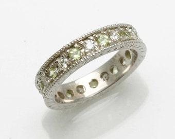 Handmade 14k white gold Diamond Peridot Eternity Band Milgrain Vintage Style