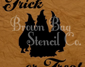 HALLOWEE STENCIL - 12x12 - Trick or Treat - Witches - Signs - Pillows - Burlap