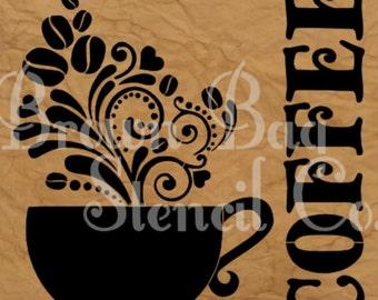 COFFEE STENCIL - 12x12 - reusable mylar stencil - pillow stencil - sign stencil - furniture stencil - Coffee Cup Stencil