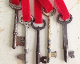 Key Ornament - Red Velvet Ribbon -key to my heart, housewarming, Santa's Magic Key
