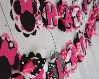 Ready to Ship Minnie Mouse Happy Birthday Banner Hot Pink/Black/White