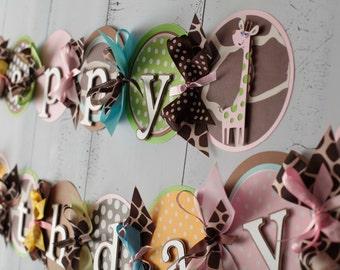 Giraffe Birthday Decorations, Party,  Happy 1st Birthday, Light Pink,White,Brown/Lime Green/Yellow/Blue Polka Dot