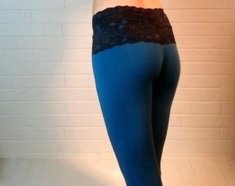Lace Waist Yoga Leggings Blue yoga pantsOrganic Bamboo fabric Workout clothes womens sustainable lifestyle