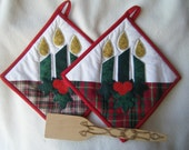 Quilted Christmas Candles Potholders - Set of 2 - HANDMADE BY ME