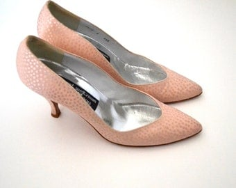 Blush Pink Heels Beautiful Polka Dot Size 8AAA