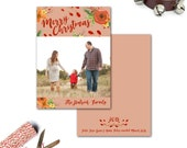 Watercolor Floral Holiday Card--Family Photo, Christmas, Hanukkah, New Years