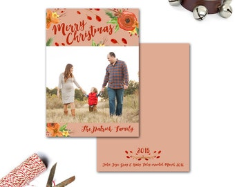 Watercolor Floral Holiday Card--Family Photo, Christmas, Hanukkah, New Years
