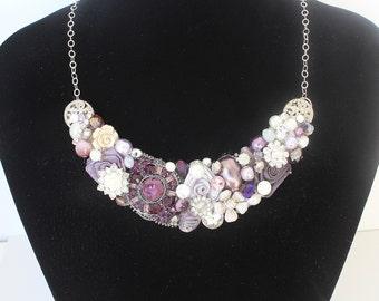 Statement Necklace- Purple Bib Necklace- Purple Rhinestone Necklace- Purple Statement Necklace- Purple Necklace- Eggplant Bib Necklace