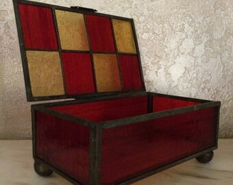 Antique Stained Glass Box Leaded Glass Case Glass Display Case