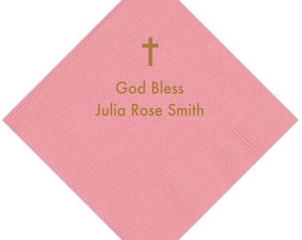 God Bless Personalized Christening/Baptism Napkins - Pink or Blue
