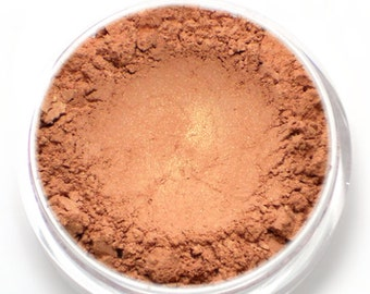 "Vegan Peachy Pink Blush - ""Tea Time"" peachy pink with golden shimmer Net wt 4.5g"