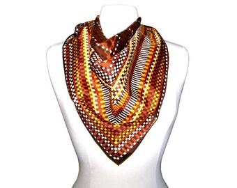 Vintage 80s HENRYSON Autumnal Brown Geometric Printed Handkerchief Scarf