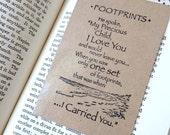magnetic bookmark, laminated bookmark, footprints bookmark, spiritual bookmark, paper bookmark, unique bookmark