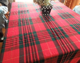 Vintage Red and Green Plaid Christmas or Holiday tablecloth for housewares, home decor by MarlenesAttic