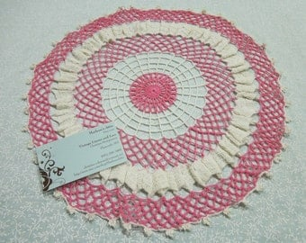 Vintage 12 inch round Pink and White hand crochet doily for crafts, shabby chic, housewares, linen, trim, valentines, by MarlenesAttic